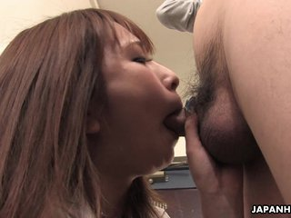 Asian business babe has to get physical somet