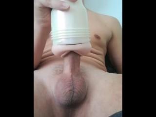Fleshlight fucking my hard uncut cock