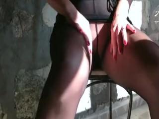 anett larmann solo in black pantyhose