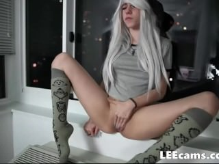 Young girl with camel toe and in socks finger