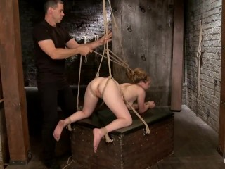 Hogtied Jessie Parker (18) tied to vibrator in tight rope bondage