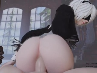 3D Blender Animation 2b from Nier Automata Fat Ass Riding by Arti2021