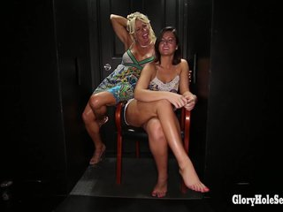 Double blowjobs in gloryhole booth