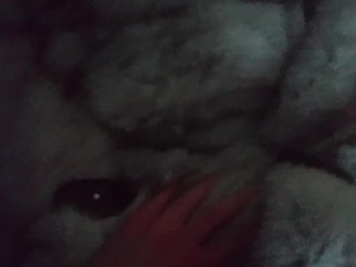18yo teen tied up and cuffed in furcoat fucked and using buttplug
