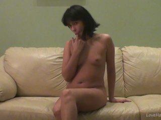 Miki spreads her legs and masturbates