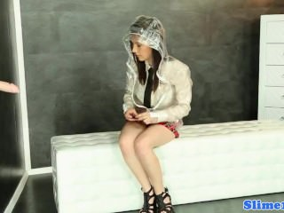 Bukakke schoolgirl masturbating at gloryhole