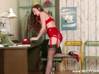 Brunette Sophia Smith on phone in stylish retro lingerie nylons high heels