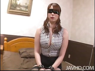 Araki Hitomi is bound and blindfolded waiting on the bed