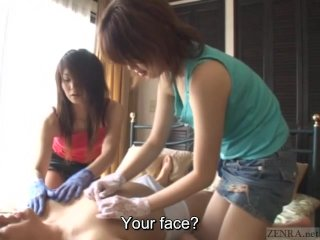 Subtitles CFNM Japanese gloved femdom teasing