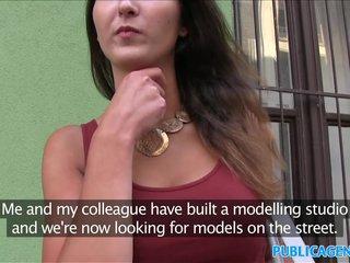 PublicAgent Big tits brunette fucks for cash