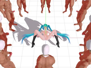 MMD Miku Hatsune Fucked by 10 men who do not give sperm
