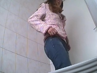 hidden cam catches cute teen pissing in public restroom