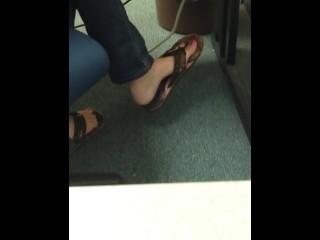 Candid Teen Flip Flop Shoeplay Dangling Feet 3
