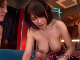 Japanese busty milfs titfucking in group