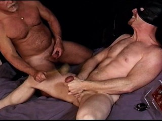 Hunk squeezes his balls as I bash them
