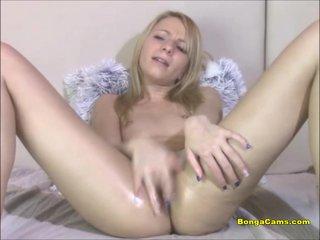 Intense masturbation from a pretty blond