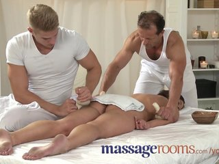 Teen takes two big cocks in a massage threeso