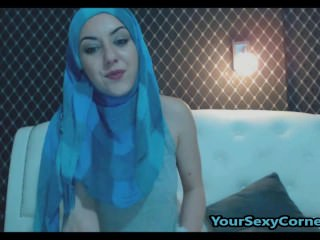 Arabian Beauty Striping Everything But Hijab For Hot Pussy Fuck