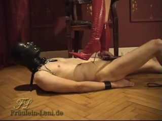 trampling in red pointy boots