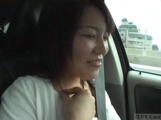 Subtitles busty Japanese wife car masturbation