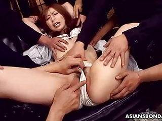 Petite Asian babe toyed by horny perverted guys