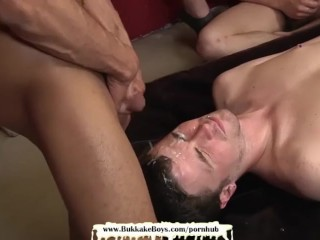 Cute twink gets his first bareback gangbang – Bukkake Boys