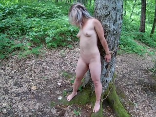 Tied and whipped in the forest-1
