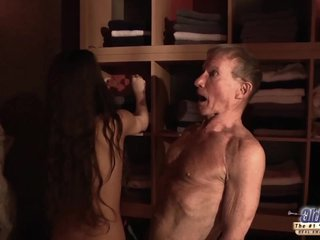 Petite college girl takes huge old dick in mouth pussy swallowing cumshot