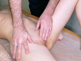 The masseur brought the girl to orgasm.  Part 1