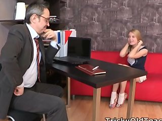 Pervy old teacher gets it on with the babe