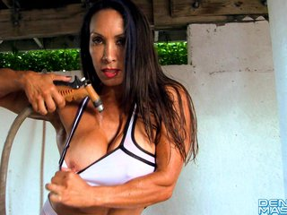 Denise Masino – Wet White Yoga Pants – Female Bodybuilder