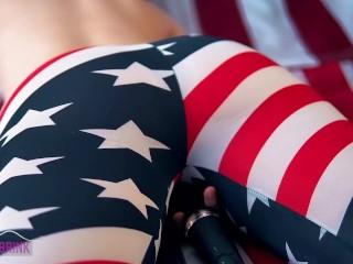 4th of July – Wet leggings & Magic Wand vibrator humping! ^__^