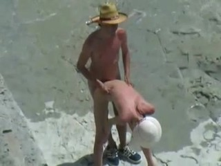 Hot skinny brunette blows and fucks on the beach