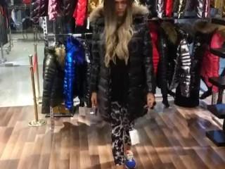 Hot girl in Moncler shop