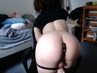trap with a small dick jerking off and playing with a vibrating buttplug