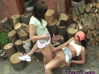 Lesbian strip game Cutting wood and