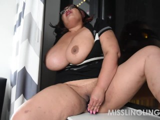Asian Busty BBW Plays With Pussy Looking Out Window
