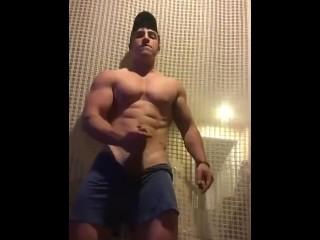Straight jock Tim K. jerks off and cums