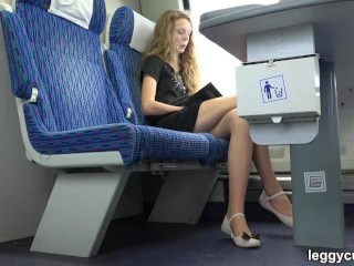 Teen Girl In Pantyhose On The Train