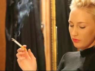 Blonde smoking speaks