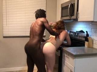 Redhead PAWG GF Gets Fucked by BBC Roughly on Kitchen Countertop Ends with Creampie