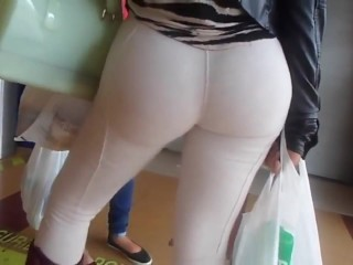 Big ass in tight white pants