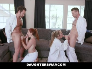 DaughterSwap – Pervy Stepdads Take Turns Fucking Their Teen Stepdaughters
