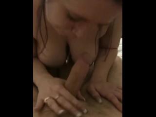 Slut sucks off cock, takes facial