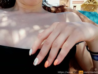 Flash tits on beach – Amateur Teen Zefirka (Public boobs flashing)