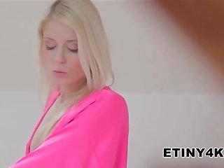 Blonde massage her body