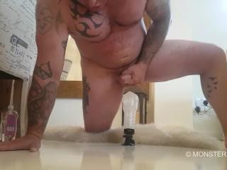 Big dick muscled tattooed daddy fucks his tight fleshlight cums big load
