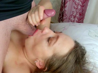 Russian girl Sucks my throbbing dick to have a Huge Facial! She wants my sperm on her face!