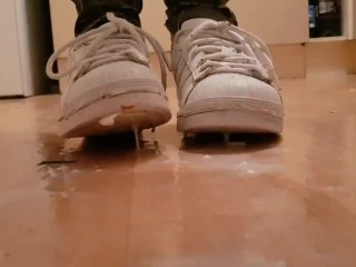 Stepping & Spitting In Well Worn White Adidas Trainers and Gold Boots