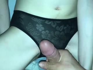 Cumshot on sexy petite girlfriends panties
